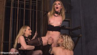 Mona Wales endures spanking, bondage, pussy and anal fisting, anal strap-on and