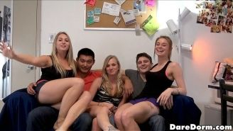College dorm girls in threesome after getting drunk