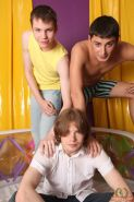 Delicious gay twink dudes getting it on in an inflatable pool