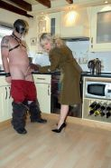Army babe having kinky foot  sex in the kitchen