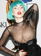 Lady Gaga gets her see thru top falling off and showing her great tits paparazzi