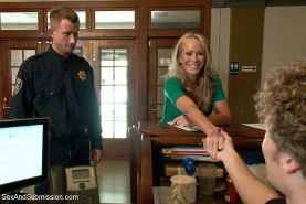 Simone Sonay busty blonde milf is rope bound and fucked by security guards