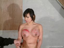 Big breast punishment and tit whipping of bound japanese bdsm slavegirl Koko Li