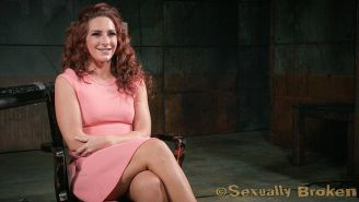 Savannah Fox in pink dress is bound to squirt by two male domina