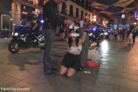 Damaris is bound public fucked and humiliated in a bar with large audience