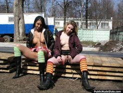 Naughty couple of oversexed bunnies playing with a sex toy in public