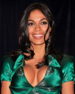 Rosario Dawson showing huge cleavage in glamor turquoise dress at the White Hous