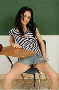 A beautiful naughty latina teen in her school girl out fit get horny