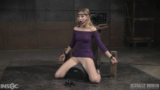 Mona Wales in purple bound double machine fucked with forced blo
