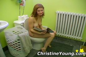 Cute teen Christine Young shaving her pussy and long legs