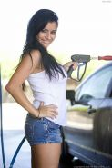 Busty amateur soaps her boobs up at carwash