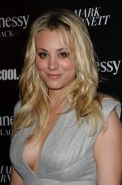 Kaley Cuoco showing huge cleavage at The Hennessy Pre-Grammy Party in Beverly Hi