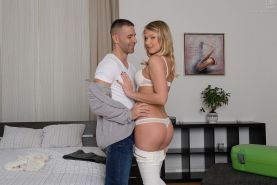 Blonde Lucy Heart enjoys anal fucking with blowjob