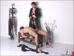 Leather and latex british mistress lady sonia with male slave