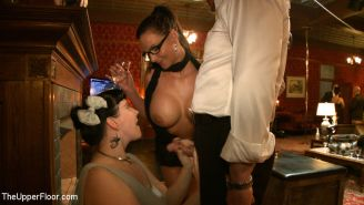 Beretta James slave girl at bdsm party with cocks
