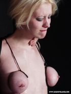 Breast tied blonde Cherry Torns extreme facial bdsm and degrading nose torments