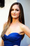 Minka Kelly busty wearing strapless blue dress at Spike TV's 2011 Guys Choice Aw
