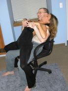 Brunette Leeann lap dancing and blowing a geek