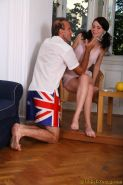 Teen cutie smokes a cig and an old mans pole
