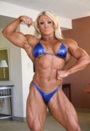 Big strong blonde Female Bodybuilder posing sexy