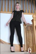 British firm body hotwife angela strips on stairs