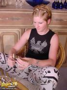 Punk Jasmin gets smokes and plays with her nipples