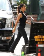 Salma Hayek showing awesome cleavage on set of 'Grown Ups 2' in Marblehead
