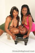 Ebony lesbian couple licking each other clits and toys fuck