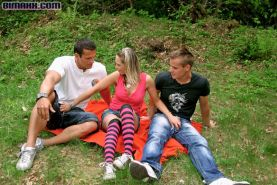 Outdoor Bisexual MMF Threeway Fucking from Bimaxx
