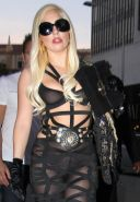 Lady Gaga showing boobs in see through bra outside Mr. Chow's in Beverly Hills