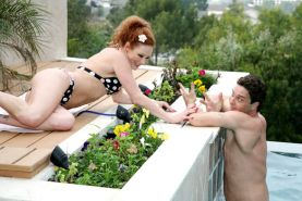 Redhead swinger seducing a cute lifeguard