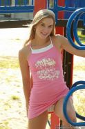Beautiful blonde teen prances nude in the jungle gym
