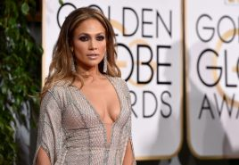 Jennifer Lopez showing huge cleavage at the 72nd Annual Golden Globe Awards in B