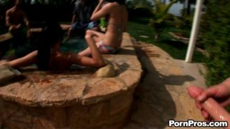 Kendall Karson fucked outdoors in a sperm orgy