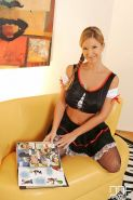 Carol Goldnerova busty maid in stockings plays with vacuum clean