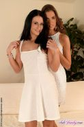Shelly Wels and Kristy high heels lesbians licking each others shaved pussy