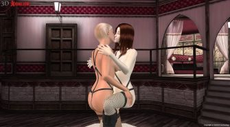 Lesbian dildo sex action created in 3D interactive fetish game