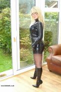 Cock hungry british wife in tight latex outfit and stockings