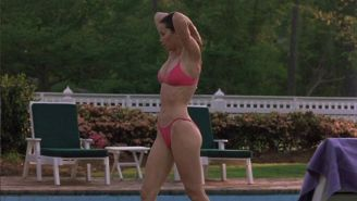 Jessica Biel jumping in pool