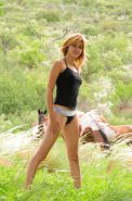 Hairy natural amateur teen posing outdoors