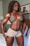 Hot black muscle babe Charmaine Patterson posing sexy