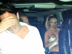 Pamela Anderson boob slip in the car while leaving Chateau Marmont in West Holly