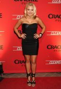 Emily Osment wearing black tube mini dress at the Cleaners premiere in Culver Ci