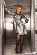 Sandra Shine toying in the elevator