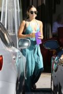 Vanessa Hudgens braless showing huge cleavage in blue bareback dress out in Stud