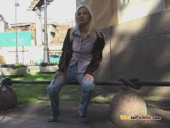 Girlie in jeans pissed herself in public as wanted to pee desperately