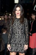 Sandra Bullock wearing a black lace mini dress at the 'Gravity' screening in Lon