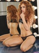 Redhead babe Lexi Belle masturbating solo on her makeup table