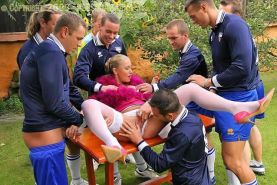 blonde babe gets gangbanged by soccer team and then pissed on