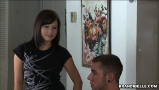 Hot Brandi Belle  sucking  for  cumshots